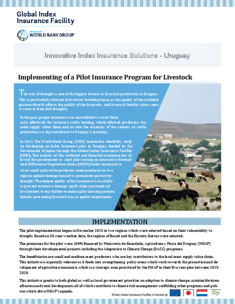 Feasibility Study for Livestock Index Insurance - Uruguay   Index